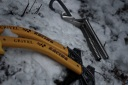 Ice climbing gear waiting to be used