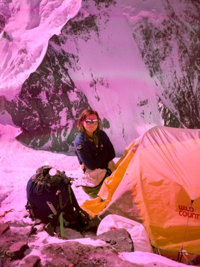 Alison Hargreves at high camp on K2, 1995