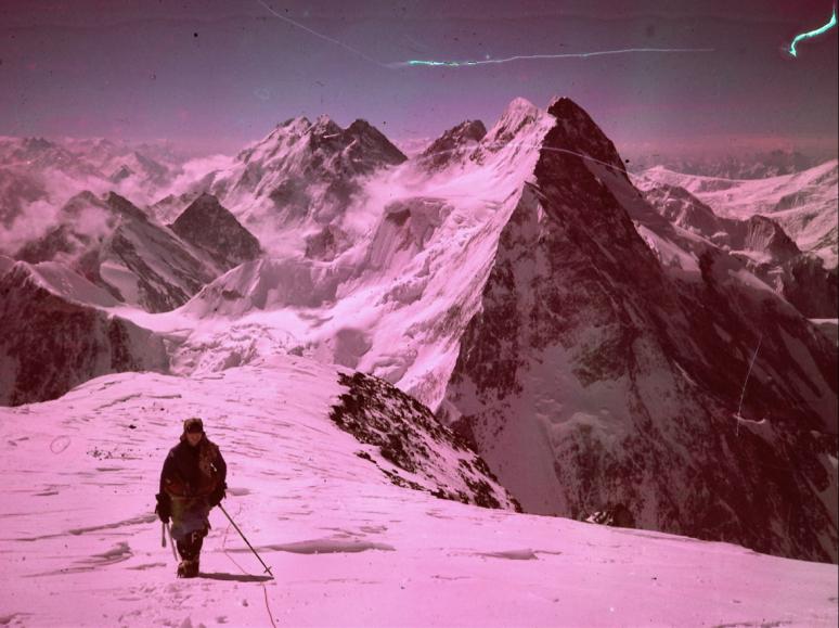 Alison Hargreves on the Abruzzi Ridge of K2, 1995