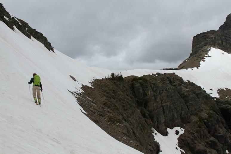Dane Traversing a Steep Slope