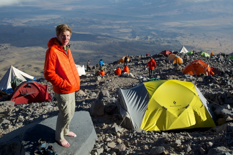 Looking down over 4200m camp