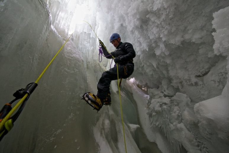 Rappelling into the Crevasse